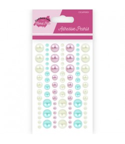 PERLES ADHESIVES FLORAL PINK X 84