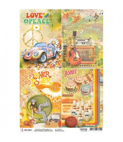 PAPIER DE RIZ 70'S CARDS 21 X 29.7CM CBRP088