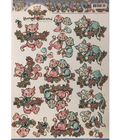 FEUILLE 3D PETITS CHATS CD10484