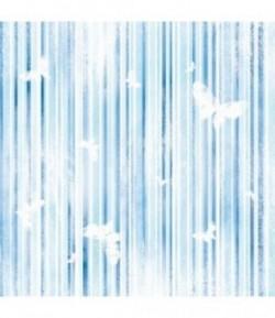 FEUTRINE RAYURES BLEUES ET PAPILLONS 30 X 30 CM - 1 MM