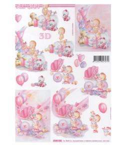 FEUILLE 3D BEBES ROSES