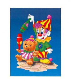 IMAGE 3D CLOWN ET OURSON 24X30 VE278
