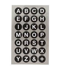 STICKERS ALPHABET GRAND ROND NOIR