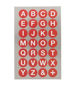 STICKERS ALPHABET GRAND ROND ROUGE
