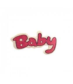 MOT EN BOIS BABY - ROSE  GLITTER