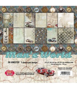 BLOC 36 FEUILLES 15 X 15 CM -  MAN'S WORLD