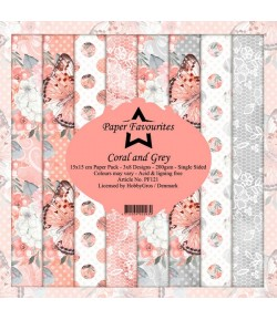 BLOC 24 FEUILLES 15 X 15  CM - CORAL AND GREY