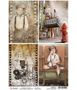 PAPIER DE RIZ MODERN TIMES CARDS 21 X 29.7CM CBRP114