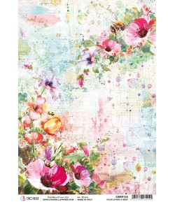PAPIER DE RIZ WILDFLOWERS AND BEES 21 X 29.7CM CBRP118