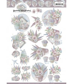 FEUILLE 3D FLOWERS IN PASTEL - CD11448