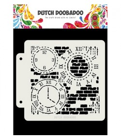 POCHOIR  GRUNGE HORLOGES- DUTCH DOOBADOO