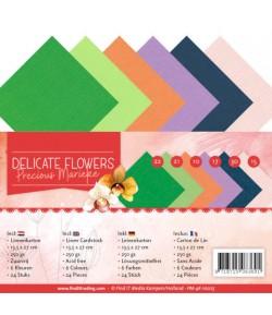 24 CARTES 13.5X27CM DELICATE FLOWERS