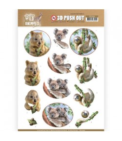 FEUILLE 3D WILD ANIMALS PARESSEU  KOALA - SB10444