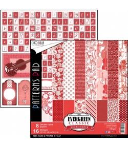 BLOC 8 FEUILLES EVERGREEN CLASSIC RED ROMANCE 30.5X30.5CM CBTE004