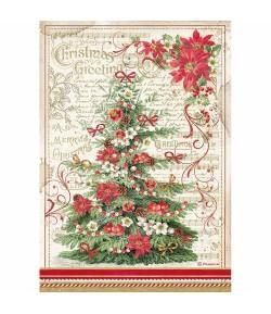 PAPIER DE RIZ A4 CHRISTMAS GREETINGS TREE - 21 X 29.7 - DFSA4476 - STAMPERIA