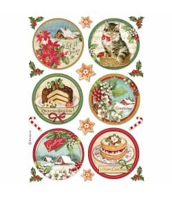 PAPIER DE RIZ A4 HAPPY CHRISTMAS ROUND - 21 X 29.7 - DFSA4477 - STAMPERIA