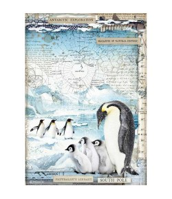 PAPIER DE RIZ A4 ARTIC PINGOUINS - 21 X 29.7 - DFSA4479 - STAMPERIA
