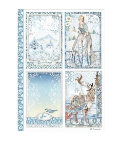 PAPIER DE RIZ A4 WINTER TALES CARDS - 21 X 29.7 - DFSA4490 - STAMPERIA