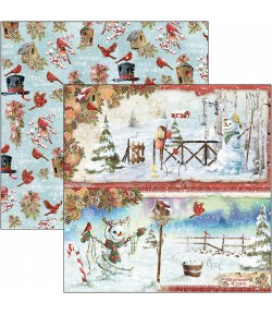 PAPIER NORTHERN LIGHTS SNOWMEN CIAO BELLA 30.5X30.5CM CBSS128