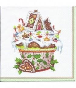 SERVIETTE CUP CAKE NOEL