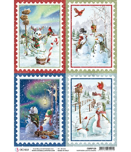 PAPIER DE RIZ NORTHERN LIGHTS STAMPS 21 X 29.7CM CBRP129