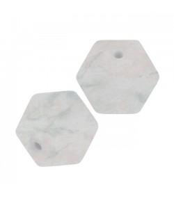 3 PERLES HEXAGONALE  EN SILICONE 14 MM - MARBRE