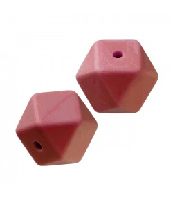 3 PERLES HEXAGONALE  EN SILICONE 14 MM - TERRACOTTA
