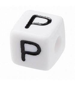 PERLE CUBE PLASTIQUE 10 MM - LETTRE P