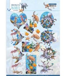 FEUILLE 3D SEA ANIMALS - CD11497