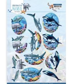 FEUILLE 3D BIG OCEAN ANIMALS - CD11499