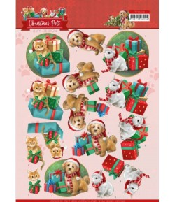 FEUILLE 3D CHRISTMAS PETS PRESENTS - CD11526