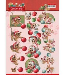 FEUILLE 3D CHRISTMAS PETS - BALLS - CD11528