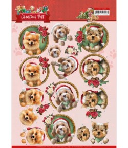 FEUILLE 3D CHRISTMAS PETS - DOGS - CD11529