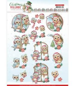 FEUILLE 3D CHRISTMAS VILLAGE - CD11541