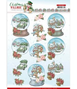 FEUILLE 3D CHRISTMAS VILLAGE - CD11542