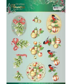 FEUILLE 3D CHRISTMAS FLOWERS - CD11555