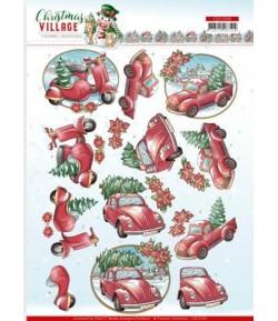 FEUILLE 3D CHRISTMAS VILLAGE - CD11543