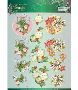 FEUILLE 3D CHRISTMAS FLOWERS - CD11556