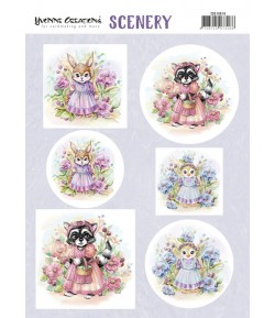 FEUILLE AQUARELLA LOVELY ANIMALS - CDS10019