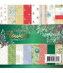 BLOC 23 FEUILLES 15 X 15 CM - CHRISTMAS FLOWERS  JAPP10016