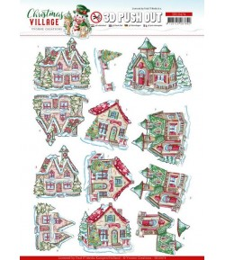 FEUILLE 3D CHRISTMAS VILLAGE - SB10472