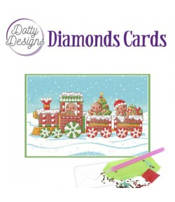 MINI KIT CARTE DIAMONDS CHRISTMAS TRAIN 15X15CM