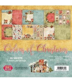 BLOC 24 FEUILLES 15 X 15 CM -  COLORS OF CHRISTMAS