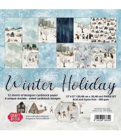 BLOC 12 FEUILLES 30.5 X 30.5 CM -  WINTER HOLIDAY