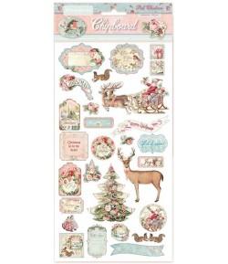 CHIPBOARD PINK CHRISTMAS 15X30 - DFLCB06