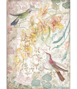 PAPIER DE RIZ A4 YELLOW ORCHIDS AND BIRDS - 21 X 29.7 - DFSA4510 - STAMPERIA