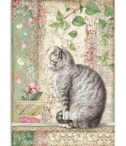 PAPIER DE RIZ A4 YELLOW CAT - 21 X 29.7 - DFSA4511 - STAMPERIA