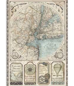 PAPIER DE RIZ A4 SIR VAGABOND MAP- 21 X 29.7 - DFSA4515 - STAMPERIA