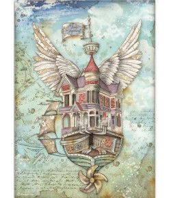 PAPIER DE RIZ A4 LADY VAGABOND FLYING SHIP - 21 X 29.7 - DFSA4521 - STAMPERIA