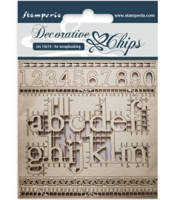 FORMES CARTON DECORATIVE CHIPS ALPHABET AND NUMBER 14X14CM - SCB24